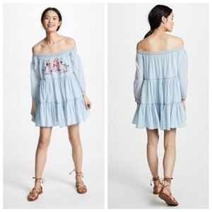 Free People Blue Embroidered Mini Dress - Sz. Sm